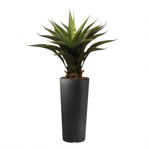 Kunstplant Agave vetplant in Clou rond antraciet H105 cm - HTT Decorations