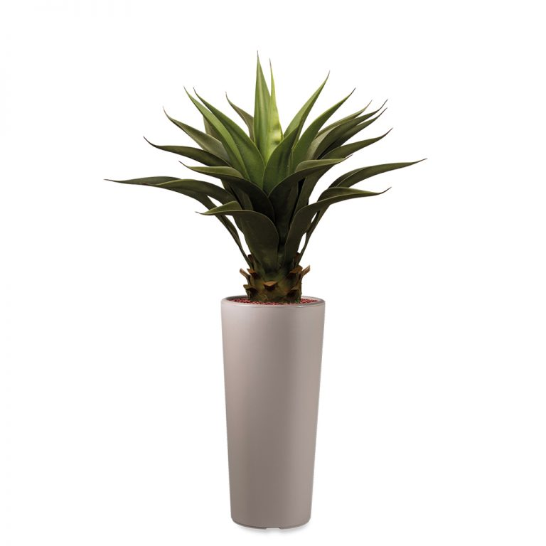 HTT - Kunstplant Agave vetplant in Clou rond taupe H105 cm - kunstplantshop.nl