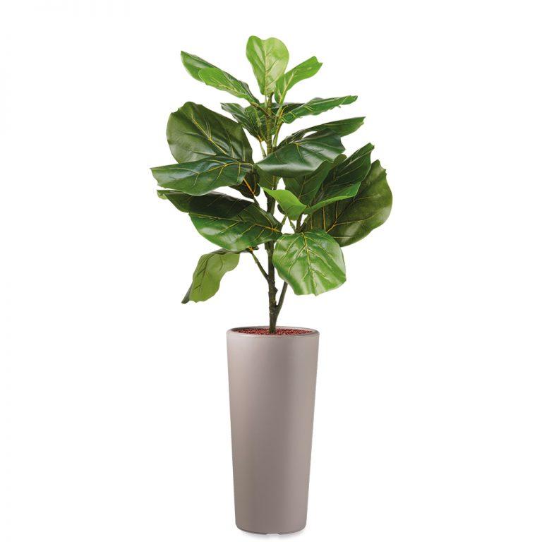 HTT - Kunstplant Ficus Lyrata in Clou rond taupe H115 cm - kunstplantshop.nl