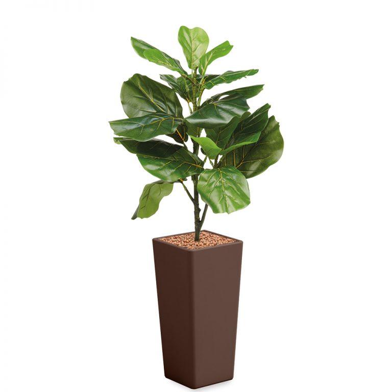 HTT - Kunstplant Ficus Lyrata in Clou vierkant bruin H115 cm - kunstplantshop.nl