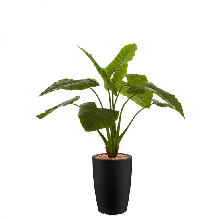 HTT - Kunstplant Philodendron in Genesis rond antraciet H140 cm - kunstplantshop.nl