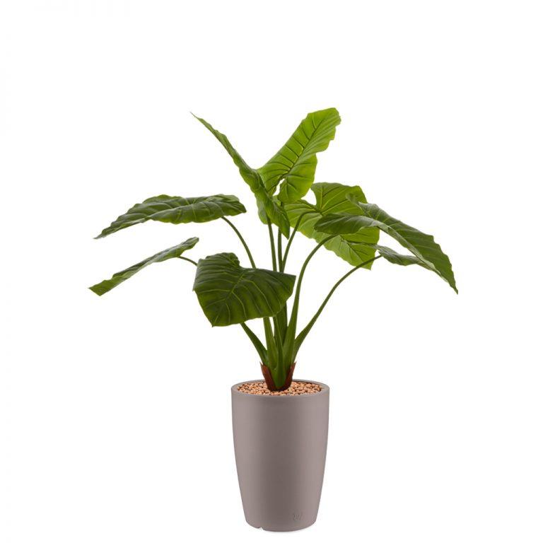 HTT - Kunstplant Philodendron in Genesis rond taupe H140 cm - kunstplantshop.nl