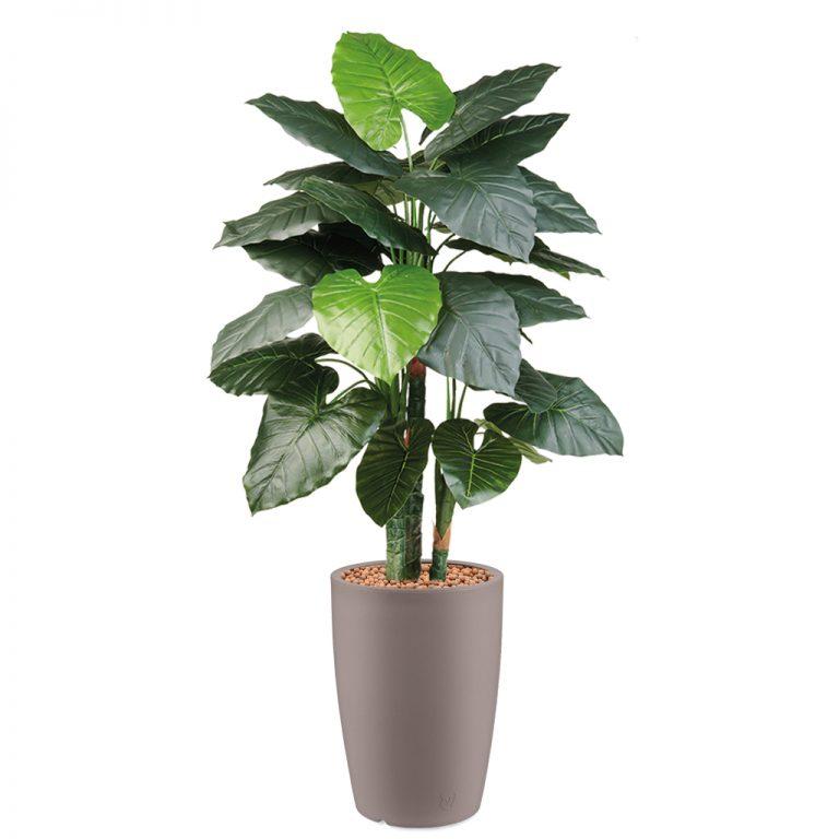 HTT - Kunstplant Philodendron in Genesis rond taupe H150 cm - kunstplantshop.nl