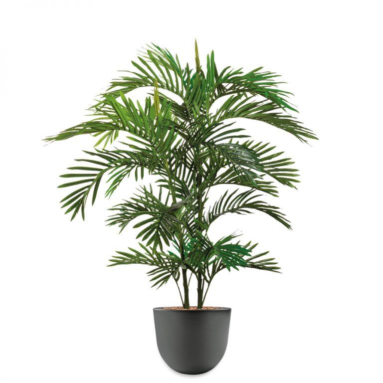HTT - Kunstplant Areca palm in Eggy antraciet H130 cm - kunstplantshop.nl