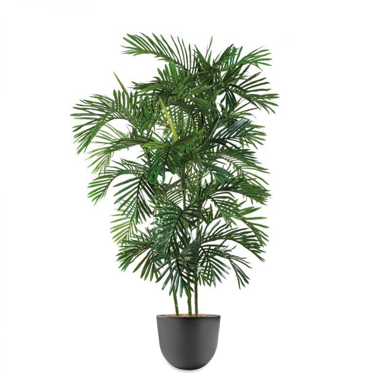 HTT - Kunstplant Areca palm in Eggy antraciet H190 cm - kunstplantshop.nl