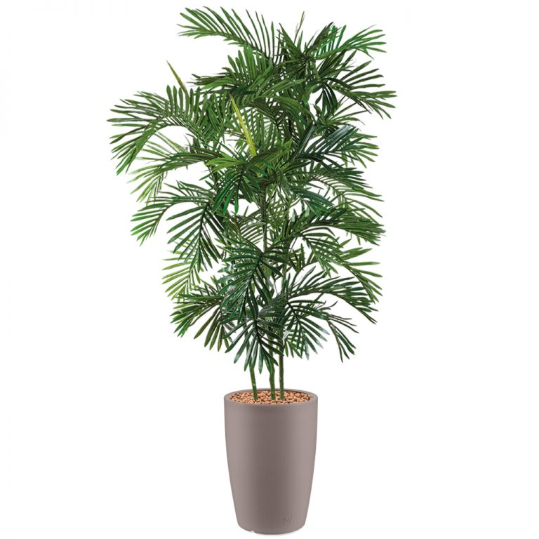 HTT - Kunstplant Areca palm in Genesis rond taupe H210 cm - kunstplantshop.nl