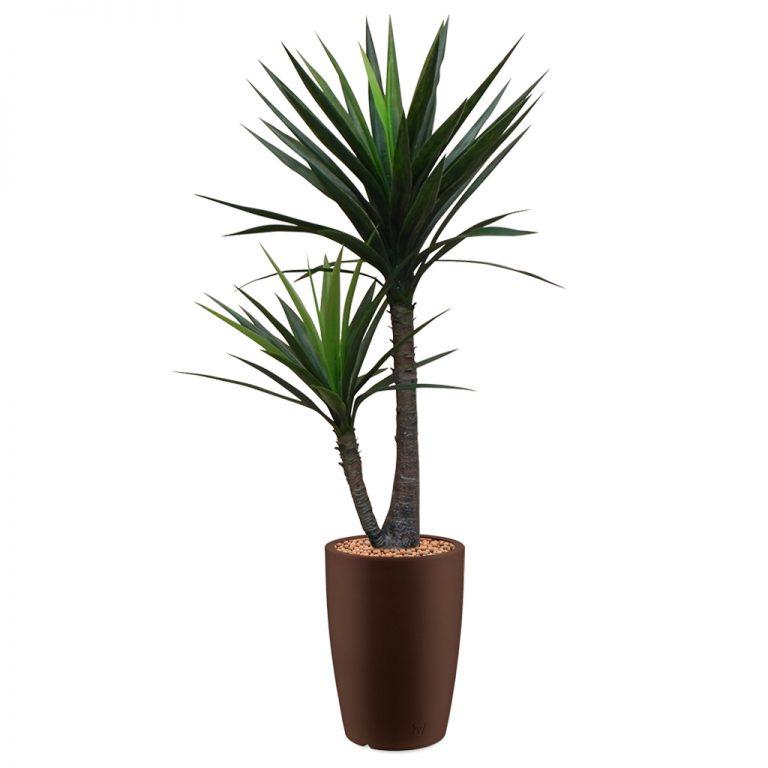 HTT - Kunstplant Yucca in Genesis rond bruin H150 cm - kunstplantshop.nl
