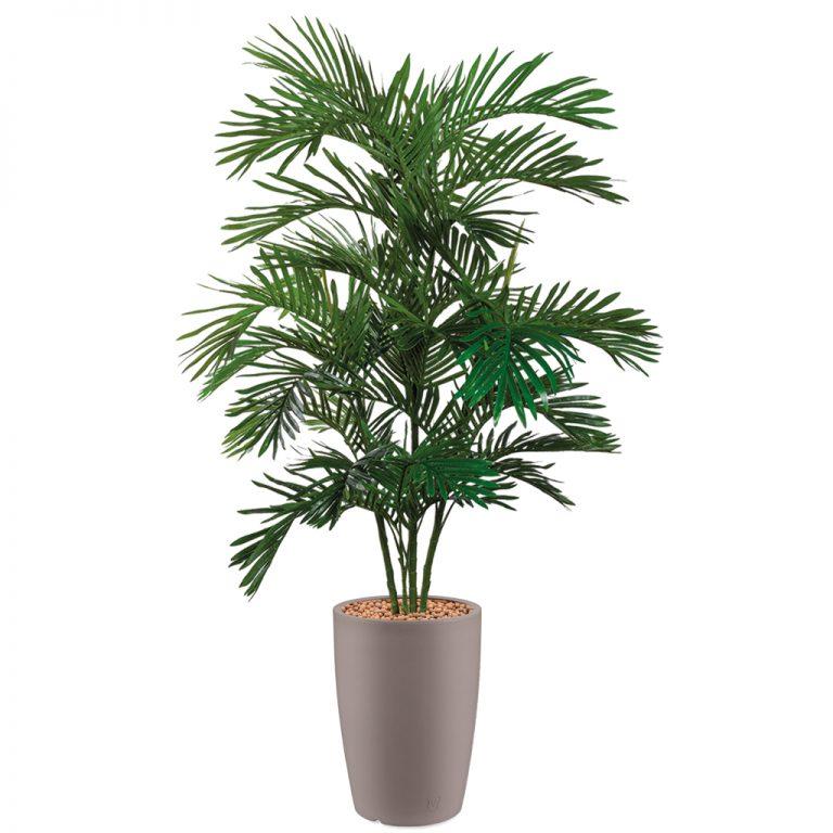 HTT - Kunstplant Areca palm in Genesis rond taupe H180 cm - kunstplantshop.nl