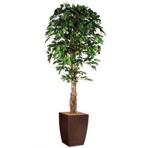 HTT - Kunstplant Ficus in Genesis vierkant bruin H210 cm - kunstplantshop.nl