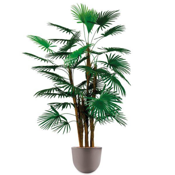 HTT - Kunstplant Rhapis palm in Eggy taupe H135 cm - kunstplantshop.nl