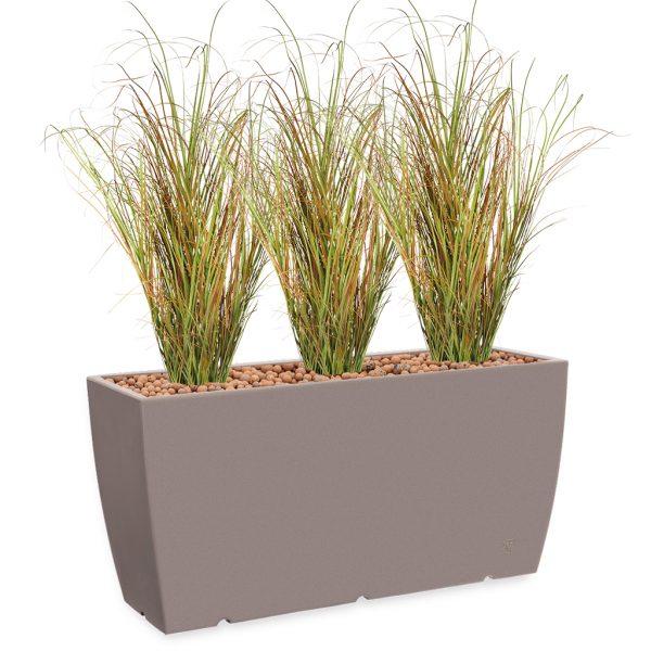 HTT - Kunstplant Siergras in Genesis cassetta taupe H160 cm - kunstplantshop.nl